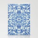 Pattern in Denim Blues on White Stationery Cards