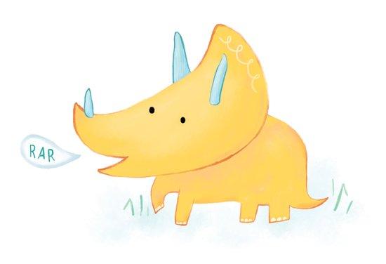 Yellow Triceratops Dinosaur Art Print