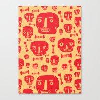 Skulls & Bones - Red/Yellow Canvas Print