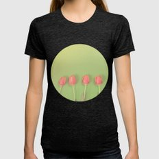 Tulips on Green Womens Fitted Tee Tri-Black SMALL