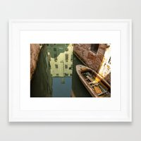 Reflections, Boats and Bricks Framed Art Print