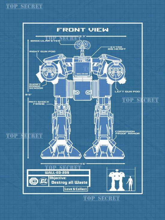 Wall-ED-209 Blue Print Art Print