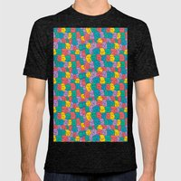 FACES OVER AND OVER Mens Fitted Tee Tri-Black SMALL
