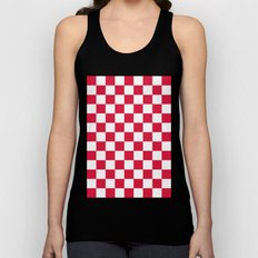 Checker (Crimson/White) Unisex Tank Top