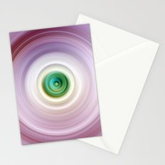 Pink and White Swirl with Green Center Stationery Cards