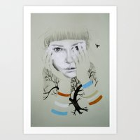 She, Tree Art Print