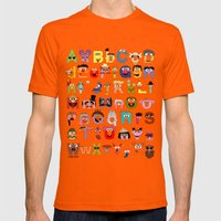 Sesame Street Alphabet Mens Fitted Tee Orange SMALL