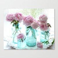 Shabby Cottage Pink Peonies Vintage Jars Canvas Print