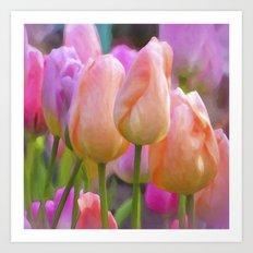 Spring Pastel Pink Tulips Art Print