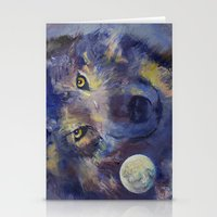 Grey Wolf Moon Stationery Cards