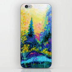 Scenic Mountain Trees Blue Landscape Painting iPhone & iPod Skin