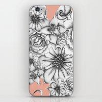 B&W Flowers Coral iPhone & iPod Skin