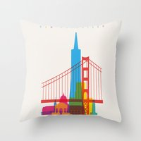 Shapes of San Francisco. Accurate to scale Throw Pillow