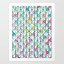 Pencil & Paint Fish Scale Cutout Pattern - white, teal, yellow & pink Art Print
