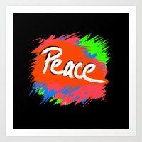 Peace (retro Neon 80's S… Art Print