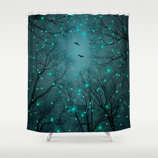 Silently, One by One, the Infinite Stars Blossomed (Geometric Stars Remix) Shower Curtain