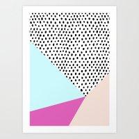 Polka Dot Rain Geometric Art Print