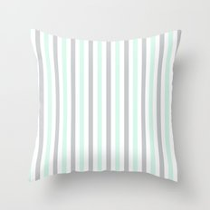 Mint & Gray Pinstripes Throw Pillow