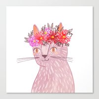 Cat with Floral Crown Canvas Print