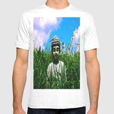 Buddha Looks Through Grass Mens Fitted Tee White SMALL