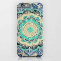 iPhone Cases featuring Midnight Bloom - detailed floral doodle in gold, navy blue & mint by micklyn