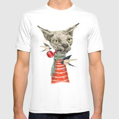 Sphynx cat SMALL Mens Fitted Tee White