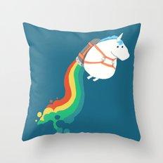 Fat Unicorn on Rainbow Jetpack Throw Pillow