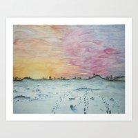Snowy Trails Art Print