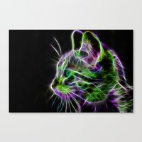 Cat   Fractal Wire Flame Cat Wall art Canvas Print