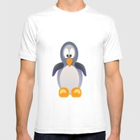 Penguin Grey Mens Fitted Tee White SMALL