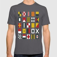 Nautical Flags Mens Fitted Tee Asphalt SMALL