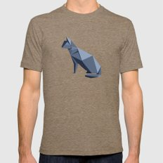Origami Cat Mens Fitted Tee Tri-Coffee SMALL