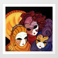 Three Venetian Masks Art Print