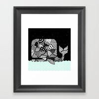 Patchwork Whale Framed Art Print