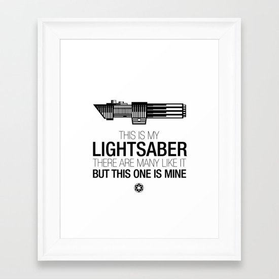 This is my Lightsaber (Vader Version) Framed Art Print