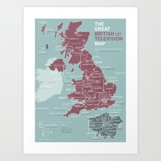 The Great British Television Map Art Print