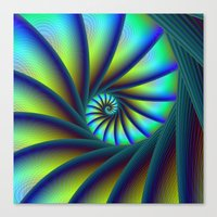 Staircase Spiral In Blue… Canvas Print