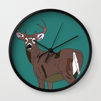 Deer In The Green Wall Clock