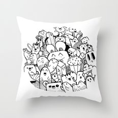 happy circle doodle Throw Pillow