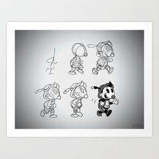 Cartoon Character Step by Step Art Print