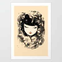 Ink Flower Girl Art Print