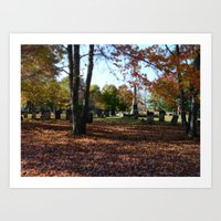 Cemetery In Fall Art Print