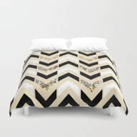 Black, White & Gold Glit… Duvet Cover