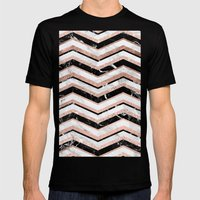 Modern trendy faux rose gold black white marble chevron Mens Fitted Tee Black SMALL