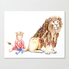 Girl with Her Lion Canvas Print