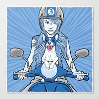 Scooter Girl Canvas Print