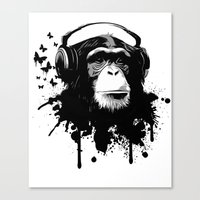 Monkey Business - White Canvas Print