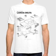 Lancia Delta History Model Kit in the WRC SMALL White Mens Fitted Tee