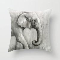 Elephant Watercolor Black and White Animal Painting Throw Pillow