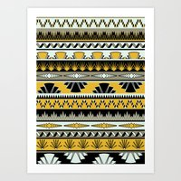art deco stripes - honey Art Print